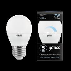 Лампа Gauss LED ШАР-dim E27 7W 4100К диммируемая