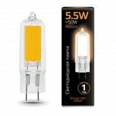 Лампа Gauss LED G4 AC220-240V 5.5W 3000K Glass