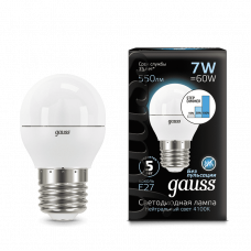 Лампа Gauss LED ШАР E27 7W 4100K step dimmable