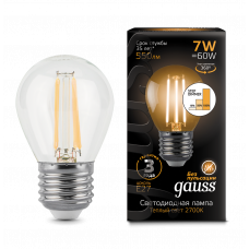 Лампа Gauss LED Filament ШАР E27 7W 2700K step dimmable