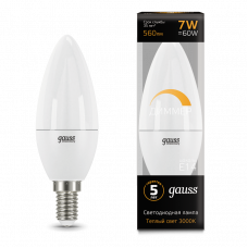 Лампа Gauss LED Свеча E14 7W 3000К диммируемая