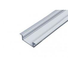 Светодиодный профиль врезной алюминиевый 2000х19,7х5мм комплект с экраном и заглушками Inox
