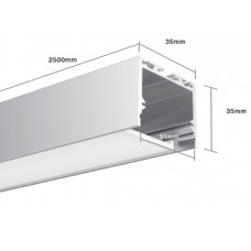Профиль алюминиевый накладной SF3535 2000х35х35 (внутренние размеры: 2000x31x29)
