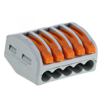 Клеммный соединитель для кабеля до 2,5 мм 5 гнезд (аналог WAGO)