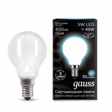Лампа Gauss LED Filament Globe OPAL E14 5W 4100K