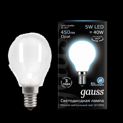 Лампа Gauss LED Filament Globe OPAL E14 5W 4100K