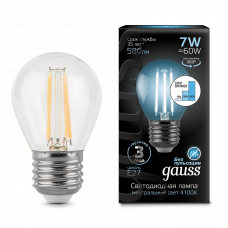 Лампа Gauss LED Filament ШАР E27 7W 4100K step dimmable