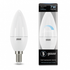 Лампа Gauss LED Свеча E14 7W 4100К диммируемая