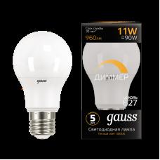 Лампа Gauss LED A60-dim E27 11W 3000К диммируемая
