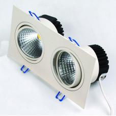 Светодиодный встраиваемый поворотный светильник  HL6712L 2*10W 6500К Белый