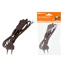 Шнур с выкл и плоской вилкой 2 м коричневый ШВВП 2*0,75 TDM
