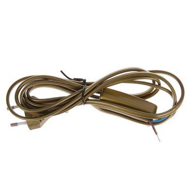 Шнур с выкл и плоской вилкой 2 м бронза ШВВП 2*0,75 TDM