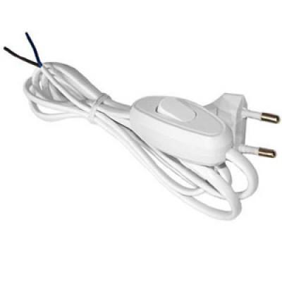 Шнур с выкл и плоской вилкой 2м белый TDM