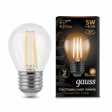 Лампа Gauss LED Filament ШАР dimmable E27 5W 2700K