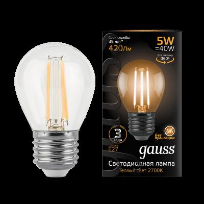 Лампа Gauss LED Filament ШАР dimmable E27 5W 2700K