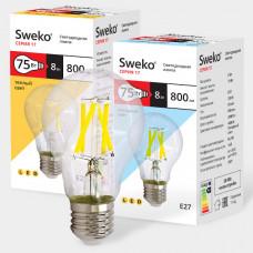 Светодиодная лампа прозрачная ГРУША 17LED-A60-8W-230-3000K-E27-800Лм SWEKO