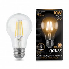 Лампа Gauss LED Filament A60 E27 10W 930lm 2700К