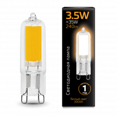 Лампа Gauss LED G9 AC220-240V 3.5W 3000K Glass