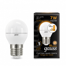 Лампа Gauss LED ШАР E27 7W 3000K step dimmable