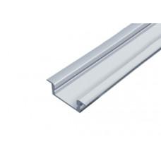 Светодиодный профиль врезной белый 2000х19,7х5мм комплект с экраном и заглушками Inox