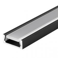 Светодиодный профиль накладной черный 2000х14,3х5,6мм комплект с экраном и заглушками Inox