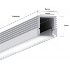Подвесной алюминиевый профиль LS.0709 для однорядной ленты2500х8х9 (внутренние размеры: 2500х5.2х8)