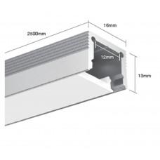 Подвесной алюминиевый профиль LS.1613 для однорядной ленты2500х16х13 (внутренние размеры: 2500x11.6x