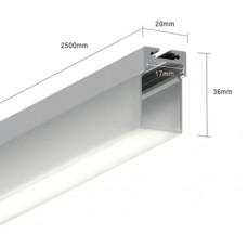 Подвесной алюминиевый профиль LS.1911K 2500x20x36 (внутренние размеры: 2500x17x30)