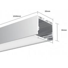 Подвесной алюминиевый профиль LS.3535 2500х35х35 (внутренние размеры: 2500x31x29)