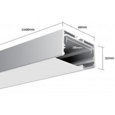 Подвесной алюминиевый профиль LS.4932 2500х49х32 (внутренние размеры: 2500x38x28)