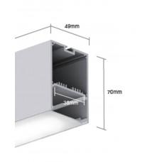 Подвесной алюминиевый профиль LS.4970 2500х49х70 (внутренние размеры W45*H32)