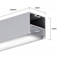 Подвесной алюминиевый профиль LS.5050 2500х50х50 (внутренние размеры W46*H21)