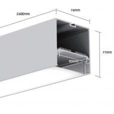 Подвесной алюминиевый профиль LS.7477 2500х74х77 (внутренние размеры W70*H39)