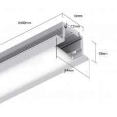 Встраиваемый алюминиевый профиль LE2613 2500х24х13 (внутренние размеры: 2500x12x10)
