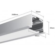 Встраиваемый алюминиевый профиль LE.4932 2500х49х32 (внутренние размеры: 2500x24x27)