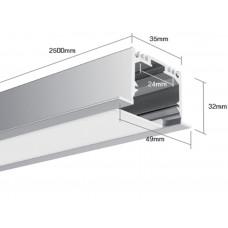 Встраиваемый алюминиевый профиль LE.4932, белый 2500х49х32 (внутренние размеры: 2500x24x27)