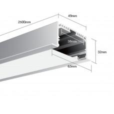Встраиваемый алюминиевый профиль LE.6332 2500х63х32 (внутренние размеры: 2500x38x27)