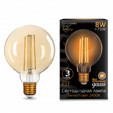Лампа Gauss LED Filament G95 E27 8W Golden 2400К