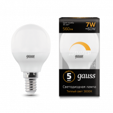Лампа Gauss LED ШАР E14 7W 3000К диммируемая