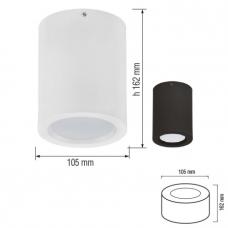 Светильник накладной алюм. удлин.(бочонок) 5W 4200К  IP20  Черный HOROZ