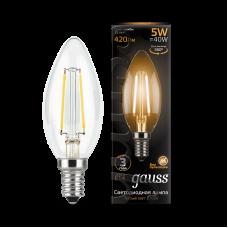 Лампа Gauss LED Filament Свеча E14 5W 2700К диммируемая