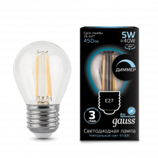 Лампа Gauss LED Filament ШАР dimmable E27 5W 4100K