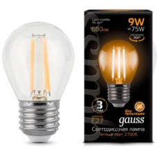 Лампа Gauss LED Filament ШАР E27 9W 2700K