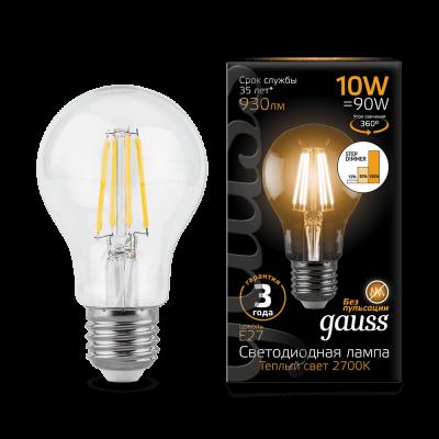Лампа Gauss LED Filament A60 E27 10W 2700К step dimmable
