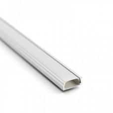 Светодиодный профиль накладной белый 2000х14,3х5,6мм комплект с экраном и заглушками Inox
