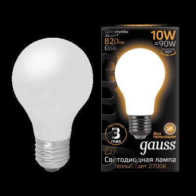 Лампа Gauss LED Filament A60 OPAL E27 10W 2700К