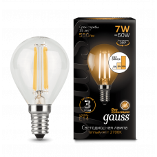 Лампа Gauss LED Filament ШАР E14 7W 2700K step dim