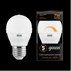 Лампа Gauss LED ШАР-dim E27 7W 3000К диммируемая