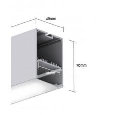 Подвесной алюминиевый профиль LS.4970 белый 2500х49х70 (внутренние размеры W45*H32)