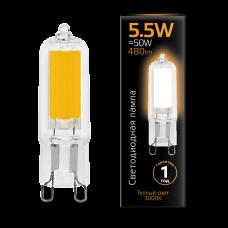 Лампа Gauss LED G9 AC220-240V 5.5W 3000K Glass